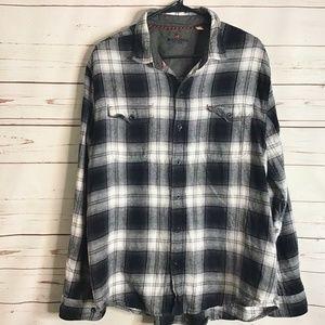 Woolrich Women's Gingham Plaid Flannel Top XL Grey